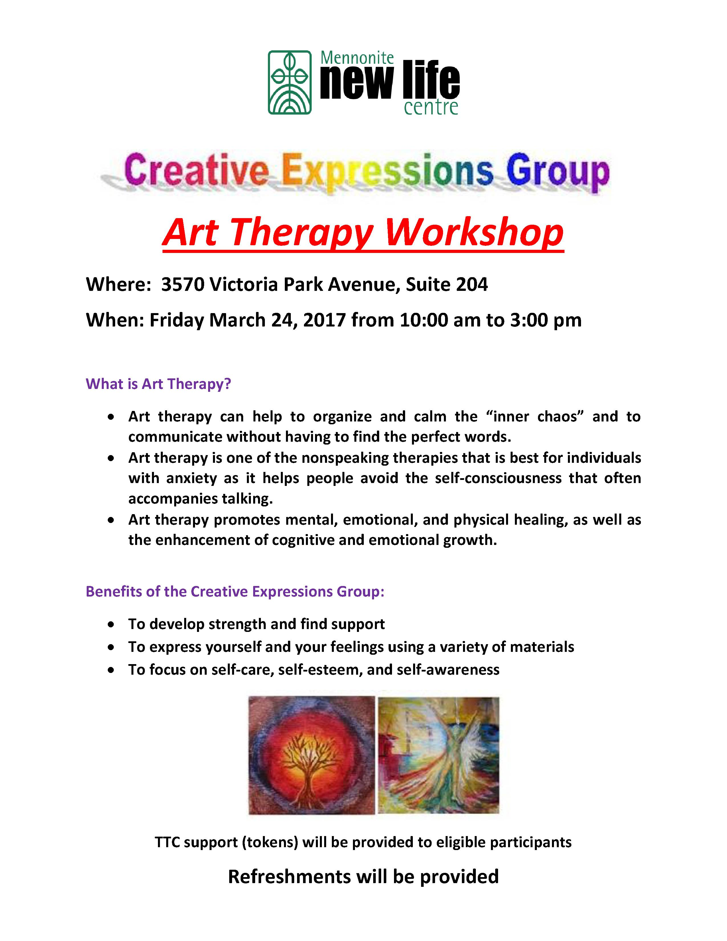 Art Therapy Workshop flyer - Mar 24, 2017